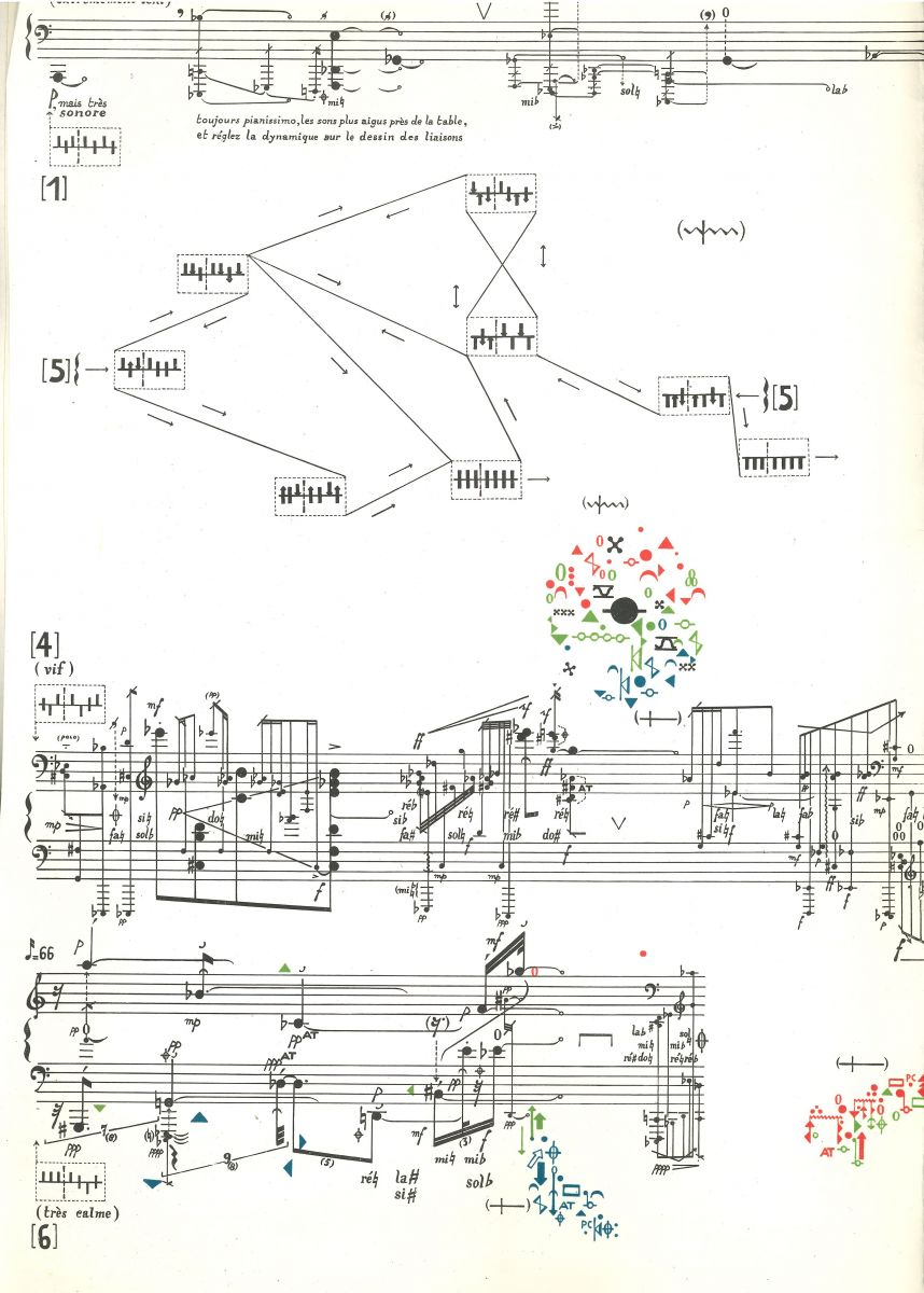 The Italian composer Sylvano Bussotti (° 1931) illustrates the integration of graphic elements in a still largely classical score. Fragmentations pour un joueur de harpes dates back from 1962. B-Bc 54046.