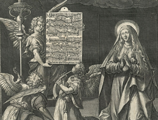 This picture motet, known as The Hymns of Mary, represents Our Lady with music-making angels. Johan Sadeler engraved this work after a design by Maarten De Vos. The motet Magnificat was composed by Cornelis Verdonck (1563-1625). The engraving is made in Antwerp in 1585. B-Bc ICO-I-019.