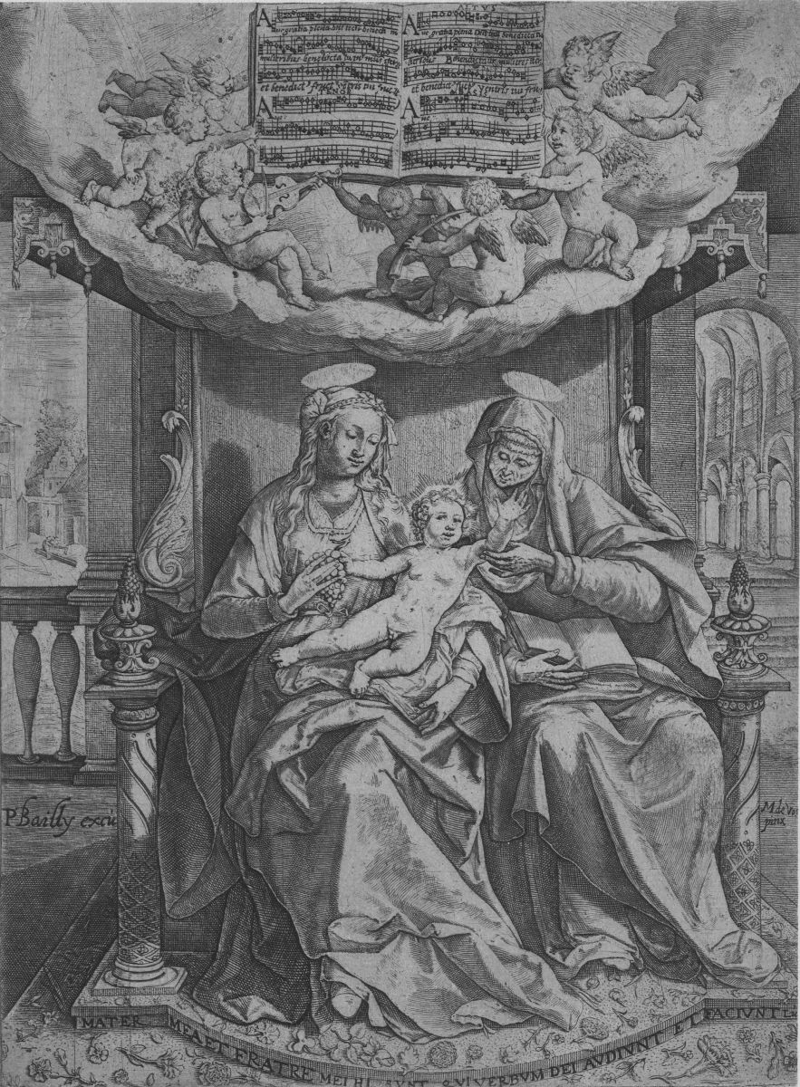 Cornelis Verdonk's Ave gratia plena is the composition on this engraving with the title Saint-Anne, the Virgin and Infant Jesus. The first version dates from 1584, engraved by Johan Sadeler after Maarten De Vos, but this is a slightly modified reprint by Bailly from the beginning of the 17th century. The fact that reprints came on the market indicates the success of this genre. B-Bc 91151.