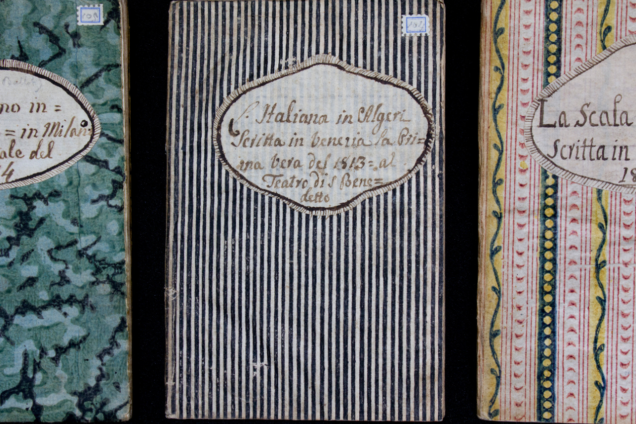 Giuseppe Rossini (ca. 1760-1839), father of Gioachino, collected the libretti of the premieres of the operas and cantatas of his son. He gave these booklets a simple paper binding, usually with color printing, on which he applied self-made labels. FEM-858-863.