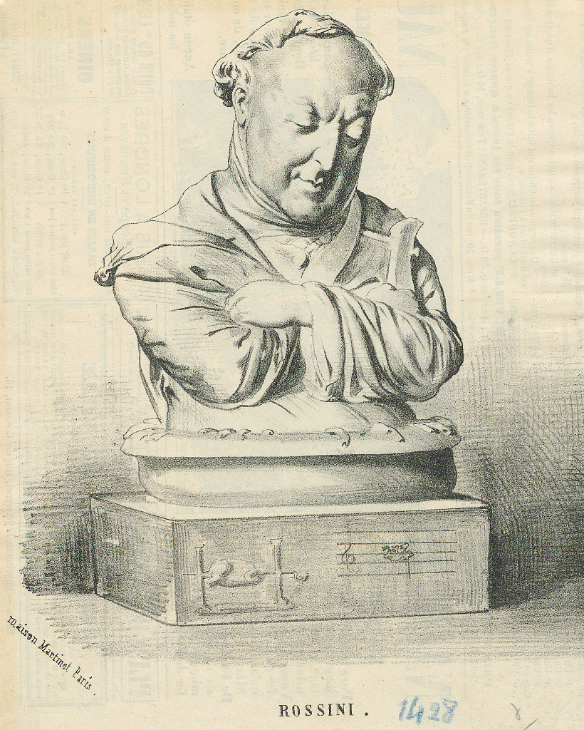 Anonymous caricature by Rossini, based on an image by Jean-Pierre Dantan (1800-1869) that clearly refers to the culinary reputation of Rossini. He is sitting in a plate of pasta, with a winch in the arms. On the base stands a chicken on the spit on the left, on the right a musical staff. To see Rossini's thoughtful look, a difficult choice for him. FEM-185.