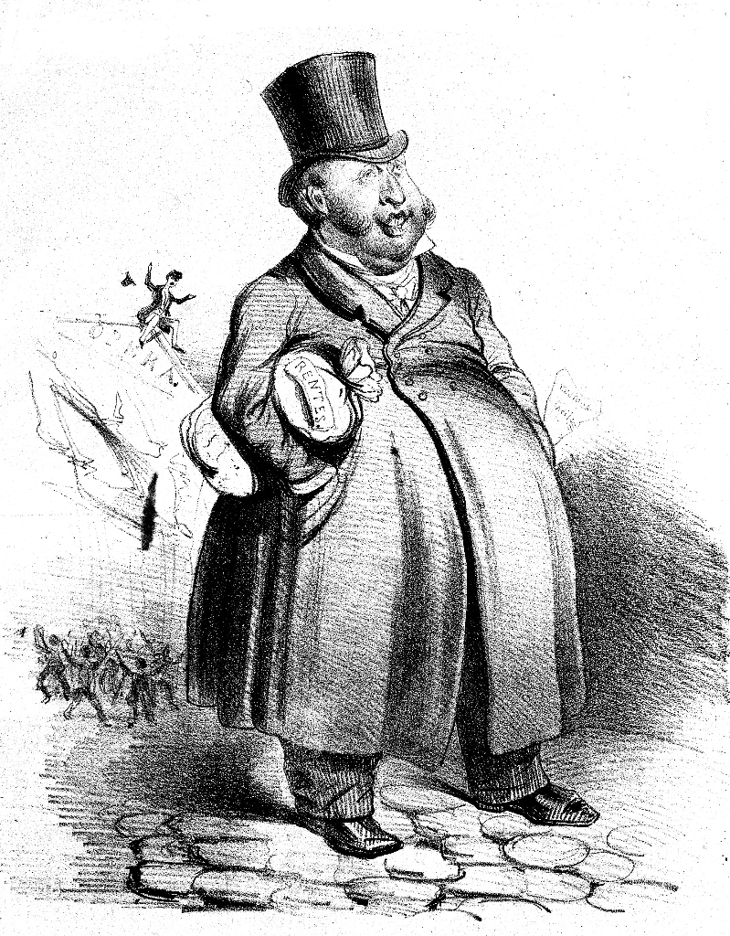 Caricature representing a bulky Rossini with a thick pack of interests under the arm. A piece of paper with 'musique facile' sticks out of his left pocket. Behind him the opera is about to collapse. On top is a desperate impresario who can no longer offer new Rossini operas to the busy crowd below. The spotlight praises the composer, but also accuses him of doing nothing: 'Rare and fertile genius of popular renown, among all Rossini shines at the highest rank. The criticism today knows him only one defect, it is the one to do nothing more.' This lithograph by Benjamin appeared in Charivari in 1839, ten years after his last opera, and undoubtedly contributed to the 'lazy image' that the Italian composer received. FEM-911.