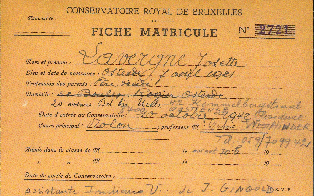 Student inscription card of Josette Lavergne at the Royal Conservatory Brussels.