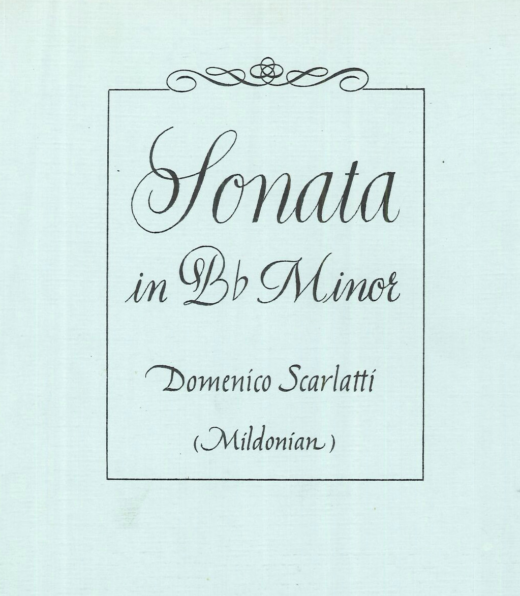 A Scarlatti sonata arranged for harp by Mildonian, edited in New York, 1974. E08805.