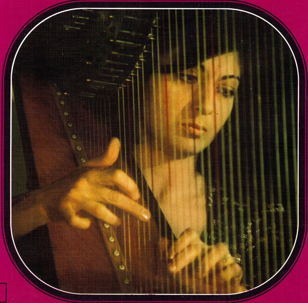 Susanna Mildonian, cover picture of the LP with harp music by Debussy and Ravel, label Decca.